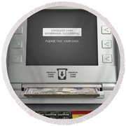 Atm Cardless Cash Withdrawal Round Beach Towel