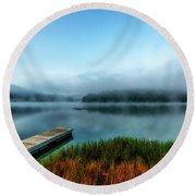 Autumn Mist On Lake Round Beach Towel