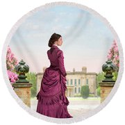 Beautiful Victorian Woman Round Beach Towel