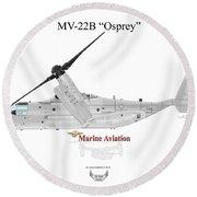 Round Beach Towel featuring the digital art Bell Boeing Mv-22b Osprey by Arthur Eggers