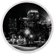 Birmingham Alabama Evening Skyline Round Beach Towel