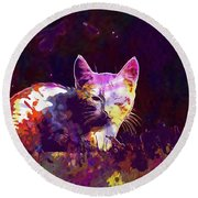 Round Beach Towel featuring the digital art Cat Eye Injury One Eye Village  by PixBreak Art