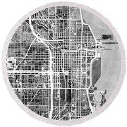 Chicago City Street Map Round Beach Towel