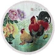 Chinese Painting Round Beach Towel