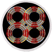 6 Concentric Rings X 4 Round Beach Towel