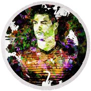 Round Beach Towel featuring the mixed media Cristiano Ronaldo by Svelby Art