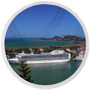 Round Beach Towel featuring the photograph Cruise Ship In Port by Gary Wonning
