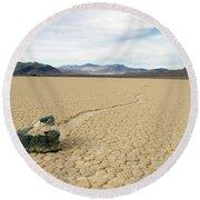 Death Valley Racetrack Round Beach Towel