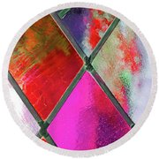 Diamond Pane Red Round Beach Towel