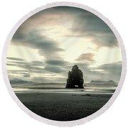 Dinosaur Rock Beach In Iceland Round Beach Towel