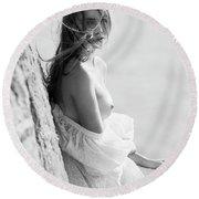 Girl In White Dress Round Beach Towel