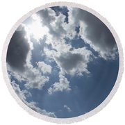 Round Beach Towel featuring the photograph 6-gon Boken Sky by Megan Dirsa-DuBois