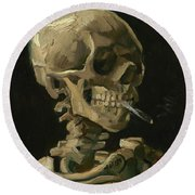 Head Of A Skeleton With A Burning Cigarette Round Beach Towel
