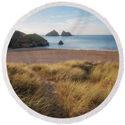 Holywell Bay - Cornwall Round Beach Towel
