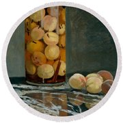 Jar Of Peaches Round Beach Towel by Claude Monet