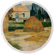 Landscape Near Arles  Round Beach Towel