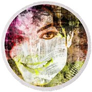 Round Beach Towel featuring the mixed media Michael Jackson by Svelby Art
