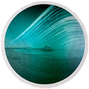 6 Month Exposure Of Eastbourne Pier Round Beach Towel