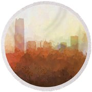 Round Beach Towel featuring the digital art Oklahoma City Oklahoma Skyline by Marlene Watson