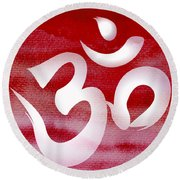 Om Symbol. Red And White Round Beach Towel