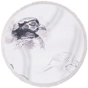 Pheasants Round Beach Towel by Archibald Thorburn