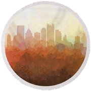 Round Beach Towel featuring the digital art Pittsburgh Pennsylvania Skyline by Marlene Watson