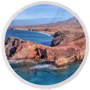 Playa Papagayo - Lanzarote Round Beach Towel