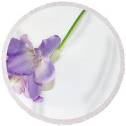 Purple Freesia Round Beach Towel by Elvira Ladocki