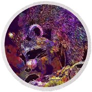 Round Beach Towel featuring the digital art Raccoon Wild Animal Furry Mammal  by PixBreak Art