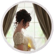 Regency Woman At The Window Round Beach Towel
