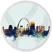 St Louis Missouri Skyline Round Beach Towel