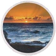 Sunrise Seascape With Sun Round Beach Towel