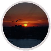 Round Beach Towel featuring the photograph 6- Sunset by Joseph Keane