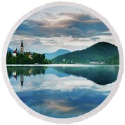 Sunset Over Lake Bled Round Beach Towel