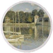 The Argenteuil Bridge Round Beach Towel by Claude Monet