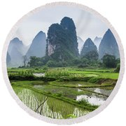 The Beautiful Karst Rural Scenery In Spring Round Beach Towel
