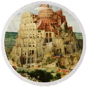 The Tower Of Babel  Round Beach Towel