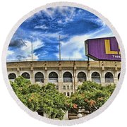 Tiger Stadium - Pano Round Beach Towel