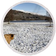 Trossachs Scenery In Scotland Round Beach Towel