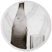Round Beach Towel featuring the photograph Vintage Beer Bottle by Andrey  Godyaykin