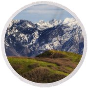 Wasatch Mountains Round Beach Towel