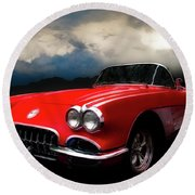 60 Corvette Roadster In Red Round Beach Towel