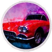 60 Red Corvette Watercolour Illustration Round Beach Towel