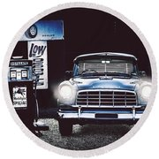 60s Australian Fc Holden Parked At Old Garage Round Beach Towel