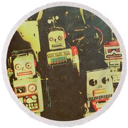 60s Cartoon Character Robots Round Beach Towel
