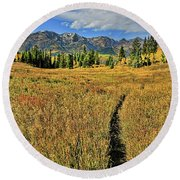 Rocky Mountain Fall Round Beach Towel