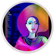646 - Elegant Lady Pink And Blue 2017 Round Beach Towel by Irmgard Schoendorf Welch