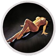 6550s-amg Watercolor Nude Woman Leg Up  Round Beach Towel by Chris Maher