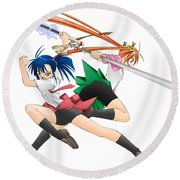 6559 1 Other Anime Hd S Anime Girls Swords Round Beach Towel