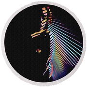 6580s-nlj Woman In Shadows By Window Zebra Striped Rendered In Composition Style Round Beach Towel